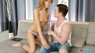 Ginger girl is getting banged wildly
