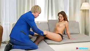 Blonde guy is fucking the brunette
