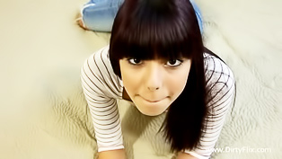 Latino hottie with bangs gets banged raw