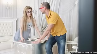 Blonde in glasses gets fucked deep