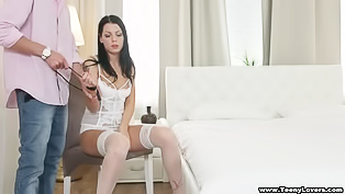 Sex with the brunette in white stockings