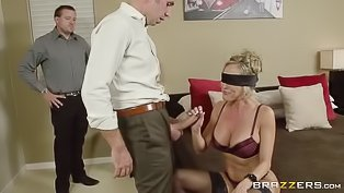 Horny hubby screws his blonde wife
