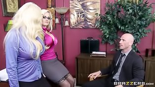 Big-tittied blondes are getting fucked