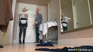 Blonde maid gets her ass destroyed
