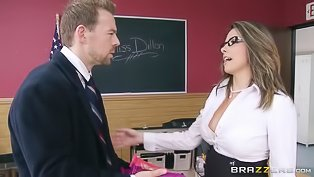 Hot teacher is enjoying big penis