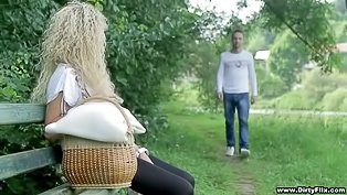 Curly blonde fucked in a park