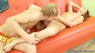 Great sex on the big orange sofa