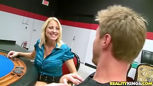 Busty MILF fucked on a poker table