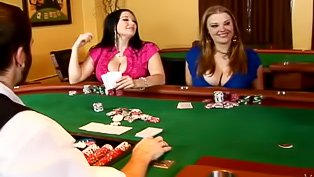 Chubby babes fucked on a poker dealer