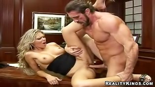 Posh blonde fucked in the office