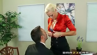 Blonde babe fucked in the office