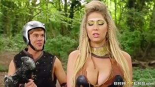 Big-tittied blonde gets drilled outdoors