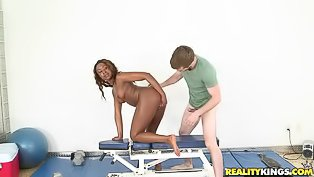 Ebony girl is getting drilled