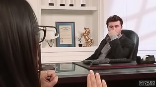 Asian hottie fucked at the office
