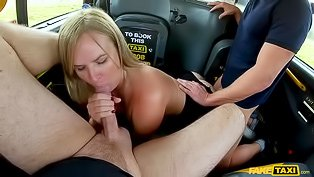 Blonde double-teamed in a cab