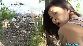 Asian teen fucked in the woods