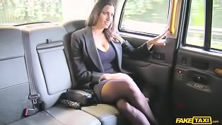 Thot in stockings fucked in a cab