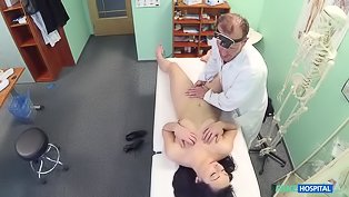 Dirty doctor fucks a brunette beauty