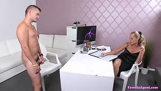 Female casting agent fucks a dude