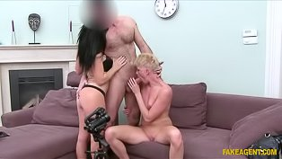 Mature blonde fucked on a casting
