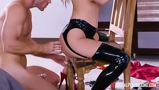 Latex slave fucked on camera