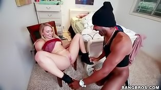 Ebony man is penetrating blonde