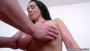 Oiled MILF gets her holes penetrated