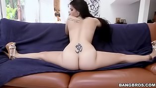 Tattooed brunette gets drilled hard