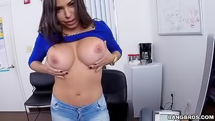 Latina brunette is fucking in the office