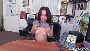Hot chick gets fucked on the table