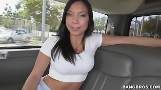 Brunette gets banged in the car