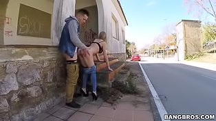 Hot babe gets drilled in the street
