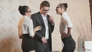 Two elegant ladies fucked by their boss