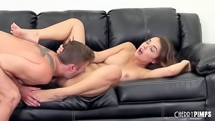 Couple orgasms together on sofa