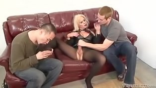 Shemale MILF dominates two dudes