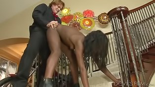 Chocolate slut is getting drilled