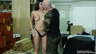 Raven haired MILF rides a dick