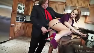 Sex with redhead slut in purple skirt