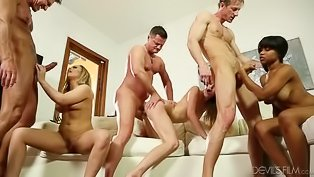 Six swingers are enjoying passionate sex