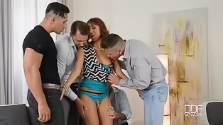 Four guys are fucking lovely lady