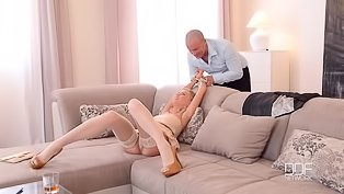 Gorgeous blonde gets penetrated hard