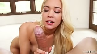 Hot blonde gets her mouth fucked