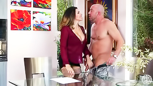 Bald man is fucking the lady's mouth