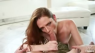 Horny brunette loves sucking penis