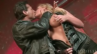 Strong biker is fucking busty blonde