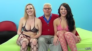 Two hot girls fuck a fat dude