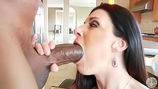 Hot brunette is tasting black dick