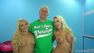 Strong guy is fucking two blondes