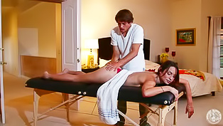 Masseur fucks her face, hard