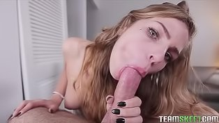 Tender blonde is deepthroating penis
